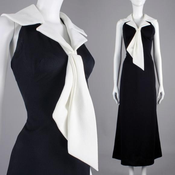 Vintage Dresses & Skirts - S/M Vintage 60s 70s Halter Wide Collar Maxi Dress